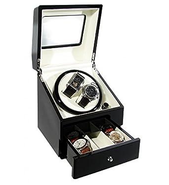 CKB Ltd DELUXE EURO Automatische Uhrenbeweger mit Doppel Watch Box mit Draw - 4 Timer Modi Premium-Silent-Motor -