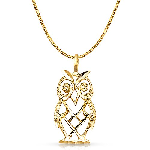 Owl Yellow Gold 14k (14K Yellow Gold Owl Charm Pendant with 1.7mm Flat Open Wheat Chain Necklace - 18