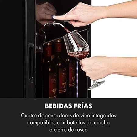 Klarstein First Class 36 nevera para vinos profesional, frío por compresión, volumen para 36 botellas / 135 litros, 4 dispensadores, temperatura de enfriamiento 5-22 °C, control táctil, negro