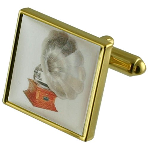 Music Gramaphone Gold-tone Square Cufflinks with Engraved Personalised Case