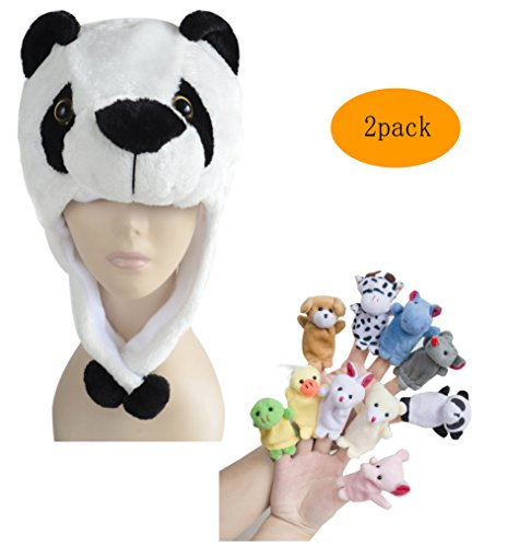 Pulama Winter Animal Beanie Hats, Short Cartoon Caps with 10 Finger Puppets (Kung Fu Panda) (Kung Fu Panda Halloween Costumes For Toddlers)
