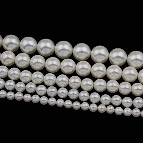 Loune Week Fashion DIY Jewelry Accessories Loose Beading Beads 6/8/10/12/14mm White Round South sea Shell Pearl Beads Women 12mm