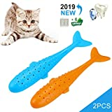 New Generation Catnip Toys For Cat,2 Pack Fish Shape Kitten Toys With Catnip Bags,Safety Natural Silicone Cat Teeth Cleaning Chewing Pet Toys For Cats,Blue and Orange (2 Pack)