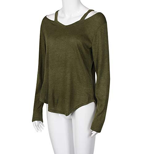 Femmes À Loose Youngii Blouse Classique Solide Chemise T Vert shirt Manches Longues Dénudées Tops Épaules EqWPf8qw