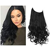 SARLA 12 Inch Black Halo Hair Extensions Short Synthetic Wavy Curly Hair Piece Adjustable Invisible Wire Headband for Women High Temperature Fiber 3.5 Oz No Clip (M05&1B)