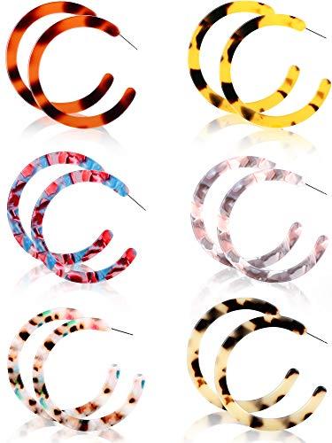 6 Pairs Resin Drop Hoop Dangle Earrings Acrylic Tortoise Shell Statement Earrings in Bohemian Style for Women Girls (Style 3, 6 Pairs) ()
