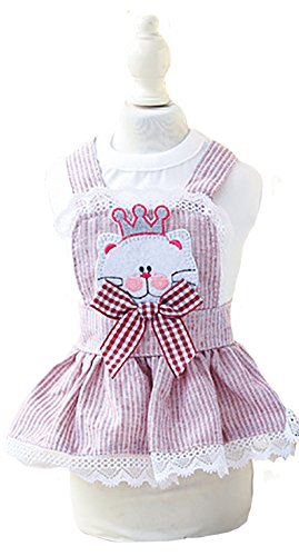 MaruPet Summer Sweet Puppy Doggie Stripes Printed Cat Skirt Pet Dog Lace Cake Camisole Tutu Dress with Bowknit for Small, Extra Small DogTeddy, Pug, Chihuahua, Shih Tzu, Yorkshire Terriers Red M