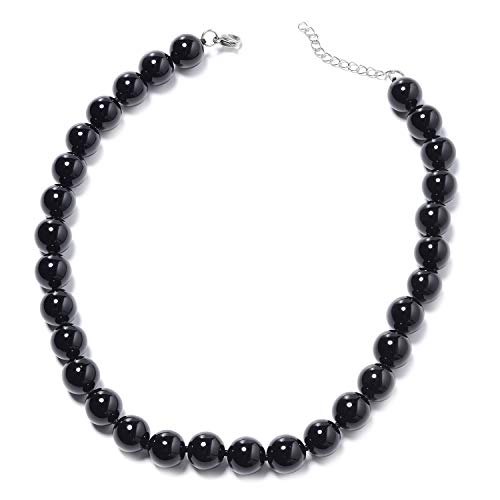 Enhanced Black Agate Stainless Steel Beads Strand Statement Necklace for Women Gift Jewelry 18-20