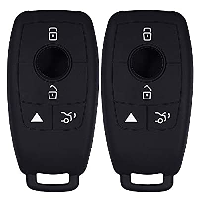 Lcyam Silicone Remote Key Fob Covers Smooth Soft Rubber Case Fits for Mercedes-Benz A220 E63S AMG E-Class GLE 350 4MATIC 2020 2020 (Black Black): Automotive
