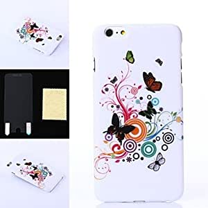 ZL Fancy Style of Butterflies Pattern Plastic Hard Case and High Transparency Screen Protetor for iPhone 6 Plus