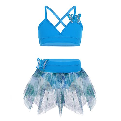 CHICTRY Kids Girls 2-Piece Butterfly Applique Tutu Skirt Top Set for Gymnastics Ballet Dancing Swimming Blue 7-8