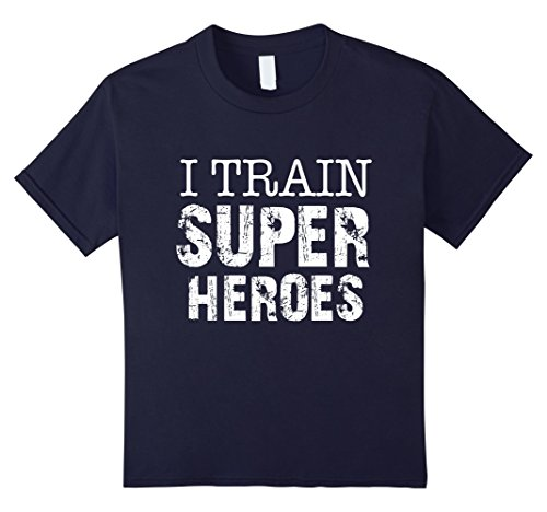 Kids Funny T Shirt | I Train Super Heroes Funny Gift Idea 12 Navy