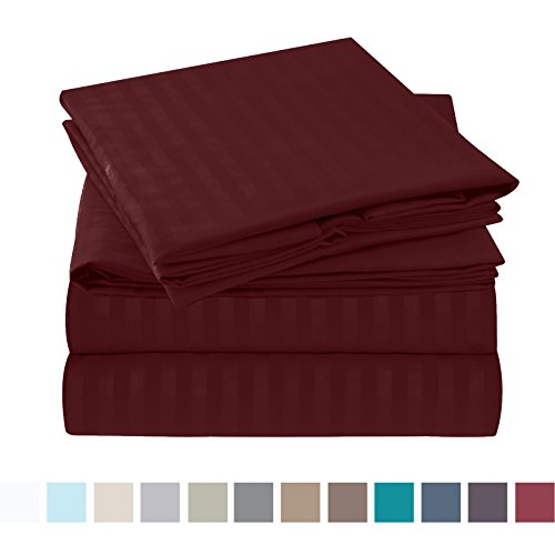 Nestl Bedding Bed Sheet Set - Damask Stripes - Soft Brushed Microfiber - Bonus Pillowcases 4 Piece Twin XL (Single) Size, Burgundy Red