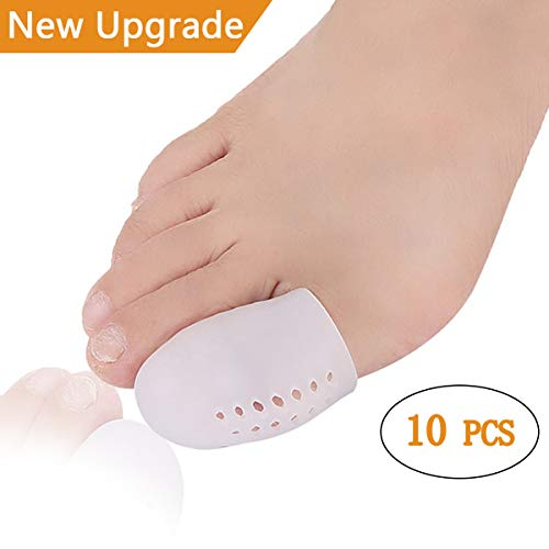 Big Toe Protectors Gel Toe Caps 10 PCS, New Breathable Toe Covers with Holes for Blisters, Corns, Broken Toe, Ingrown Toenail - Silicone Toe Cushions for Shoes for Women & Men - Large