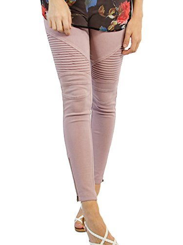 (Tickled Teal Women's Moto Jegging (2X, Dusty Pink))