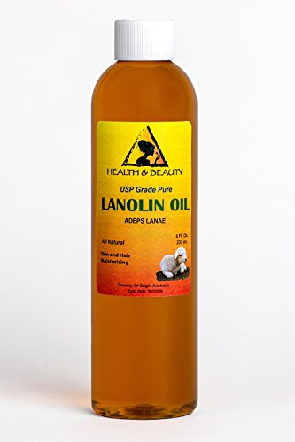Natural Lanolin (Lanolin Oil USP Grade by H&B OILS CENTER Premium Quality Skin Hair Lip Moisturizing 100% Pure 8 oz)