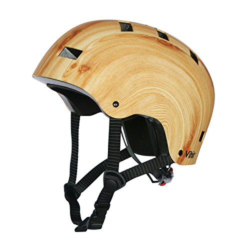 (Vihir Multi Sports Bike Skateboard Helmet Classic Adult and Kids Adjustable Dial Helmet, Wood Grain, S )
