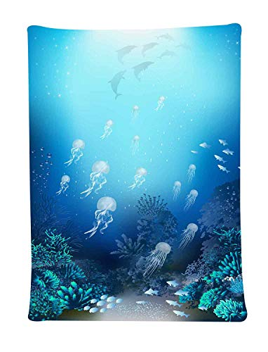 Simsant Underwater World Wall Hanging Jellyfish Dolphins Coral Tapestry Azure Wall Blanket(40x60inches 101.6x152.4CM) SIGE139