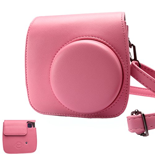 Red Compact Camera Case (HelloHelio Classic Vintage PU Leather Compact Case with Strap for Fujifilm Instax Mini 9 / 8 / 8+ Instant Film Camera - Flamingo Pink)