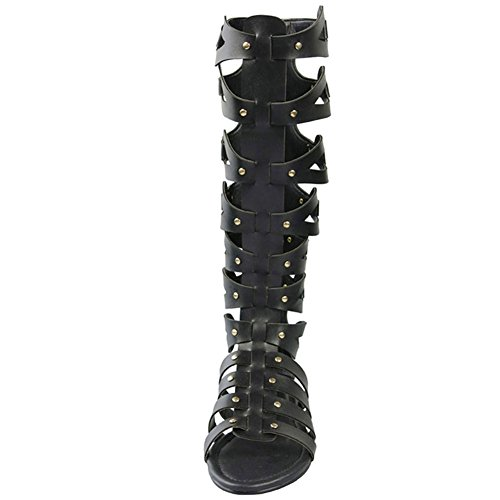 Out Flat Knee Cut Black Gladiator Womens Boots Sandals Ofpg4wTW