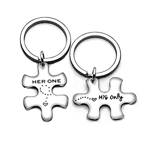 Valentine Family Key Chain Her Weirdo His Crazy Couple Valentine Gifts Boyfriend Girlfriend Christmas 2Pcs (His Only/Her One)