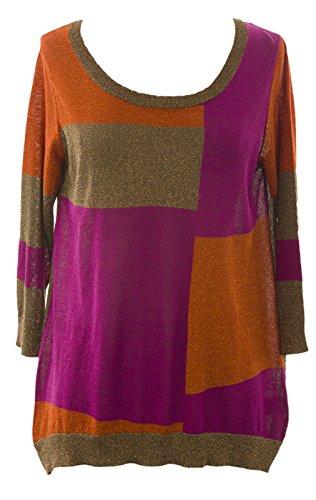 August Silk Women's Colorblock Metallic 3/4 Sleeve Sweater Medium Warm Combo (3/4 Sleeve Silk Sweater)