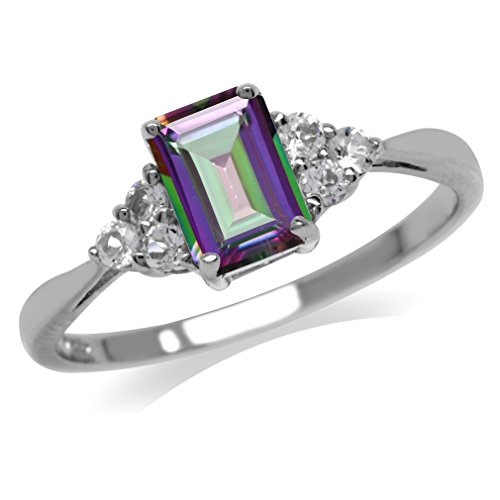 1.15ct. Mystic Fire Topaz White Gold Plated 925 Sterling Silver Engagement Ring Size 6.5 ()