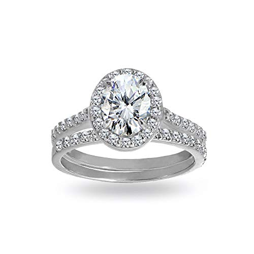 Sterling Silver Cubic Zirconia Oval-cut Halo Bridal Wedding Band Engagement Ring Set, Size 10