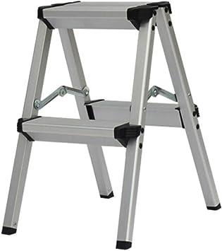 Taburete Plegable Escalera 2 Peldaños, Escalera De Aluminio, Escalera Plegable De Uso Doméstico, Pedal Antideslizante Ensanchado, Peso Del Rodamiento 150 Kg (Color : Black): Amazon.es: Bricolaje y herramientas