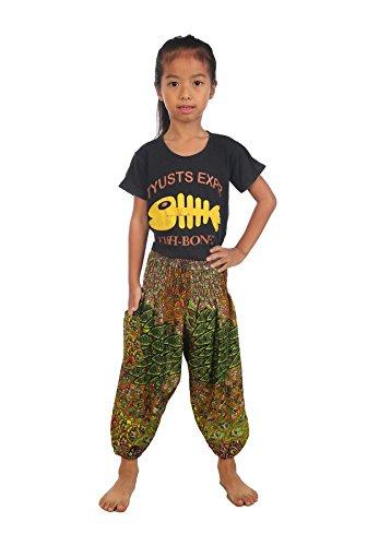- Lofbaz Baby Hippie Harem Child Retro Colourful Peacock Boho Pants Light Green 3-6M