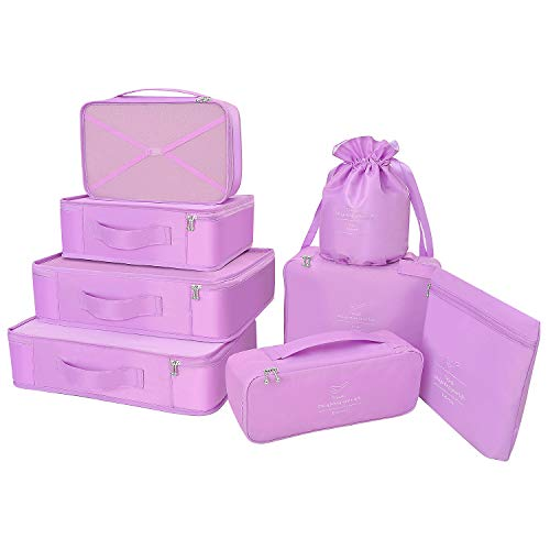 Packing Cubes 8 Sets/7 Colors Latest Design Travel Luggage Organizers Include Waterproof Shoe Storage Bag Convenient Compression Pouches for Traveller (Purple)