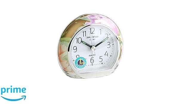 Widdop Reloj Despertador con diseño Floral silencioso con números ...
