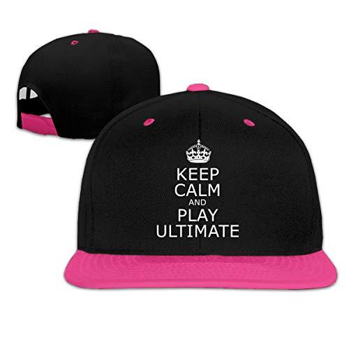 (Keep Calm and Play Ultimate Adjustable Dad Cap Baseball Hat Sun Cap Pink)