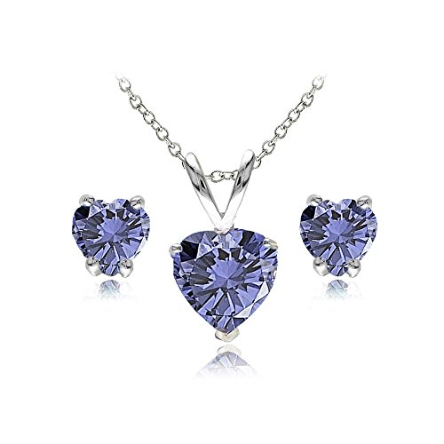 Sterling Silver Simulated Tanzanite Heart Solitaire Necklace and Stud Earrings ()