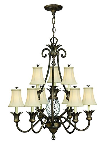 Hinkley 4887PZ Leaf, Flower, Fruit Ten Light Foyer from Plantation collection in (Hinkley Outdoor Pearl)