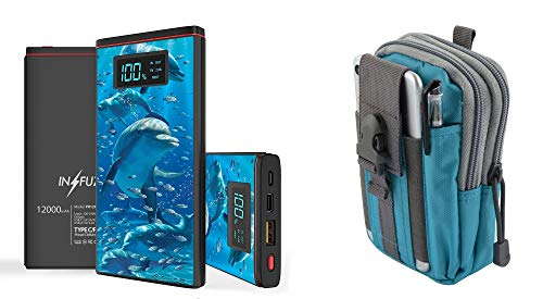 INFUZE Slim Pocket 12000mAh Portable Charger Dual (USB-A, USB-C) 18W QC 3.0 Power Bank (Ocean Dolphin), Tactical Organizer Pouch (Blue/Gray) for Apple iPhone XR, XS, XS Max, 8 Plus, 8, 7 Plus, 7