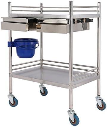 ALUP- 医療用トロリー治療用ステンレススチール器具テーブル/医療用車両手術用車両/交換用車両計器車/二重引出し美容車 - ツールカート (サイズ さいず : L-66*44cm)