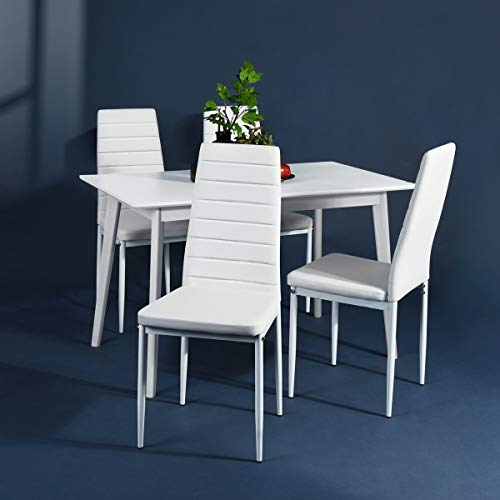 Aingoo White Kitchen Chairs Set of 4 Dining Chair Black with Steel Frame High Back PU Leather