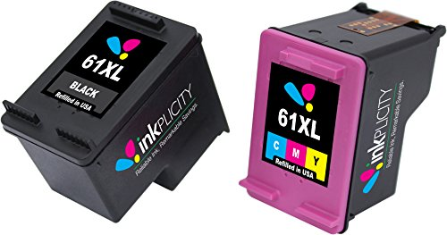 Inkplicity Refilled Ink Cartridge Replacement for HP 61XL (Black, Tri-Color, 2-Pack) (Cartridge Hp61 Print)