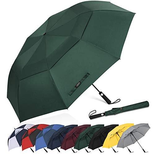 G4Free 62 Inch Portable Golf Umbrella Large Oversize Double Canopy Vented Windproof Waterproof Automatic Open Stick Umbrellas for Men and Women(Dark Green)