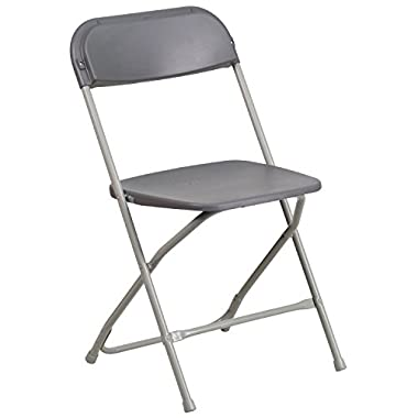 Flash Furniture Hercules Series Capacity Premium Grey Plastic Folding Chair, 800 lb