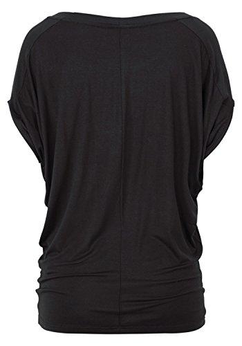 Chemise T Noir Shirt Manches Veste D't Col Rond Manches Chemisier Dentelle Femmes en Beautisun Blouse Couture Panneau CS6Sav