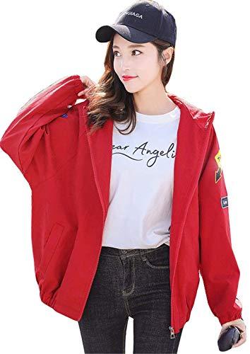 Distintivo Con Outerwear Manica Donna Ragazza Moda Giacca Allentato Rot Autunno Eleganti Baggy Chic Cappotto Giacche Lunga Primaverile Patch Cerniera Cappuccio Di tXdqHwpHa