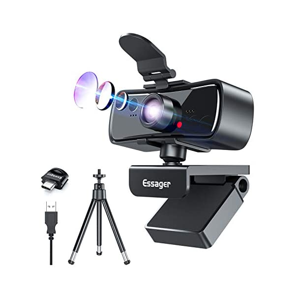 Webcam with Microphone 1080P HD USB Computer Camera with Privacy Cover Web Cam Tripod Pro Streaming