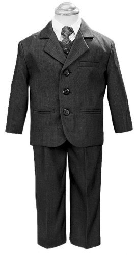 5 Piece Dark Gray Suit with Shirt, Vest, and Tie - Size 5 - Blanc Set
