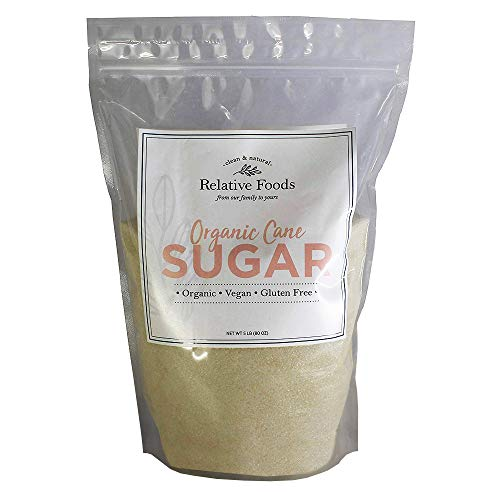 - Organic Cane Sugar 5 pounds - Packaged in the USA - In our gluten free, allergen free facility - Heavy duty plastic bag with a resealable zipper - Relative Foods a Family owned business