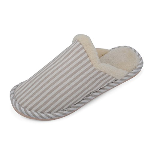 Shoes Striped Beige Cozy Lining Women Short Slippers HomeDay Plush 's Clog House w01xq7OH