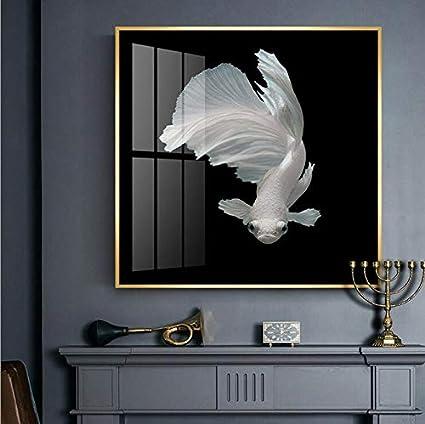 Weseason Luxe Abstrait Blanc Poissons Imprimés Sur Toile Mur