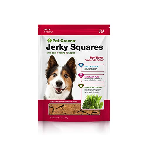 Pet Greens Dog Jerky Squares; All-Natural Dog Treats Made with Real Meat & Healthy Greens; Made in USA