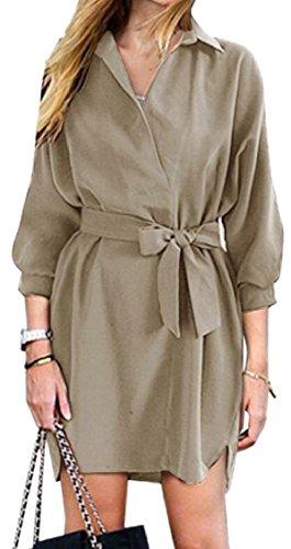 Clubwear Neck Waist Lapel Jaycargogo Sleeve Khaki Party Long Tie Dress Womens V WzqxZw6BO